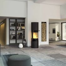 Wood heating stove / contemporary / 3-sided / steel