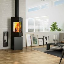 Wood heating stove / contemporary / double-sided / steel