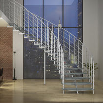 Circular staircase / glass steps / stainless steel frame / without risers