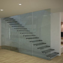 Straight staircase / glass steps / stainless steel frame / glass frame