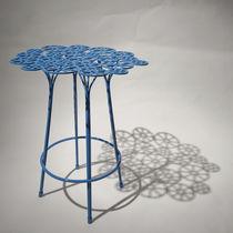 Original design bar stool / steel / garden / blue