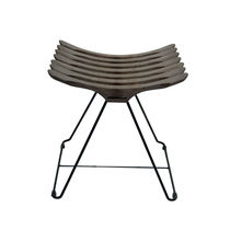 Contemporary stool / wooden / steel / sled base