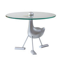 Original design side table / glass / aluminum / round