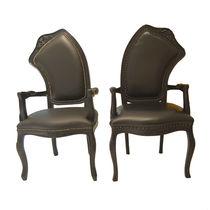 Original design armchair / wooden / leather