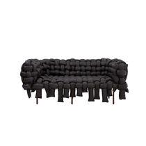 Original design sofa / fabric / 3-seater / black