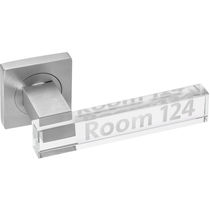 Door handle / glass / contemporary / engraved