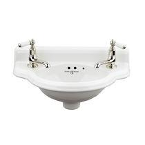 Wall-mounted hand basin / semicircular / porcelain