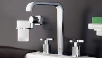 Double-handle washbasin mixer tap / free-standing / chromed metal / bathroom