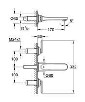 Double-handle washbasin mixer tap / wall-mounted / chromed metal / bathroom