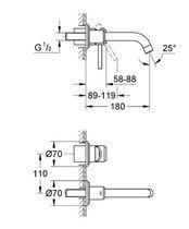 Washbasin mixer tap / wall-mounted / chromed metal / bathroom