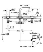 Double-handle washbasin mixer tap / free-standing / chromed metal / bathroom