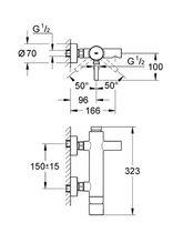 Bathtub mixer tap / shower / wall-mounted / chromed metal