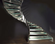 Circular staircase / glass steps / metal frame / without risers