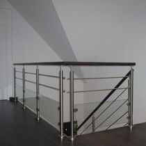 Wooden railing / stainless steel / glass panel / with bars