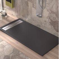 Rectangular shower base / resin / stainless steel / non-slip