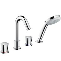 Bathtub double-handle mixer tap / deck-mounted / chromed metal / bathroom
