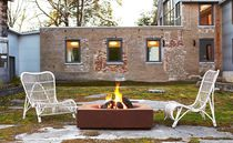 Wood fire pit / gas / corten steel / contemporary