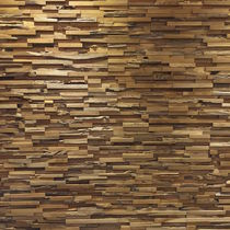Teak decorative panel / wall-mounted / 3D effect / made from recycled materials