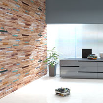 Teak wall cladding / 3D / painted