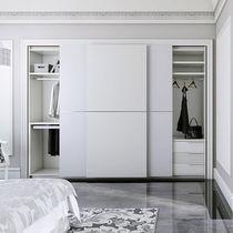 Contemporary wardrobe / ash / sliding door / with drawer
