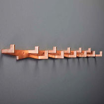 Contemporary coat hook / brass / multiple / commercial