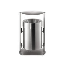 Public trash can / stainless steel / commercial / contemporary