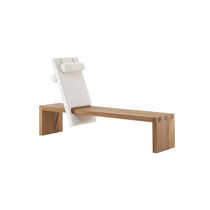 Contemporary bench / oak / with backrest / residential