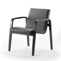 Contemporary armchair / leather / beech / plywood