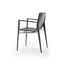Contemporary armchair / wooden / stainless steel / commercial