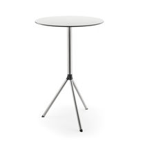 Contemporary high bar table / stainless steel / HPL / round