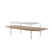 Contemporary side table / wooden / glass / rectangular