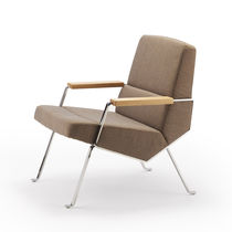 Contemporary armchair / fabric / beech / oak