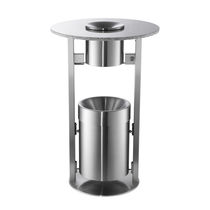 Bistro table with built-in ashtray / contemporary / metal / round