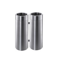 Public trash can / stainless steel / contemporary