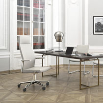 Contemporary office armchair / metal / fabric / leather