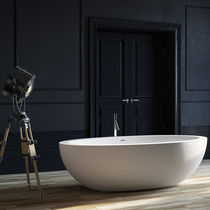 Free-standing bathtub / oval / stone / double