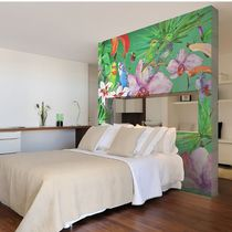 Contemporary wallpaper / vinyl / floral / animal motif