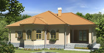 Prefab house / bungalow type / contemporary / wooden frame