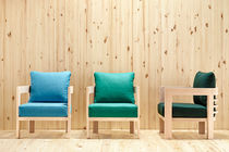 Contemporary armchair / beech / fabric