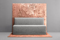 Contemporary upholstered bench / fabric / white