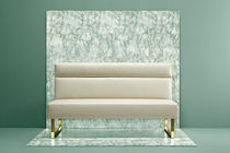 Contemporary upholstered bench / leather / steel / white
