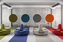 Contemporary upholstered bench / fabric / for public buildings / round