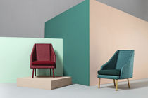 Contemporary armchair / wooden / fabric