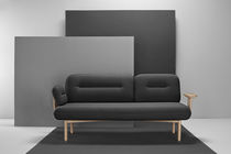 Contemporary sofa / wooden / fabric / 3-seater