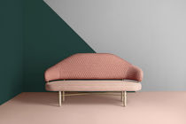 Contemporary upholstered bench / fabric / wooden / metal