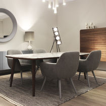 Contemporary dining table / wooden / marble / rectangular