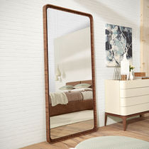Wall-mounted mirror / contemporary / rectangular / wooden