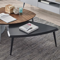 Contemporary coffee table / lacquered wood / triangular / commercial