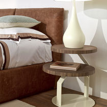 Contemporary bedside table / wooden / metal / round