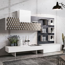 Contemporary living room wall unit / oak / steel / magnetically fixed